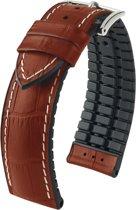 Hirsch horlogeband George L bandbreedte 22mm Bordeaux-Bruin