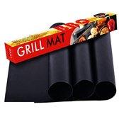 CGP – Barbecue - BBQ/Grill/Oven/Pan Mat – Anti Kleef –  Set Van 4 Stuks - Zwart