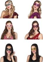 24 stuks: Masker Pailletten in 6 kleuren - assorti