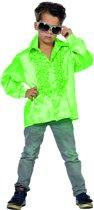 Carnavalskleding Ruchesblouse satijn neon fluor groen kind Maat 128