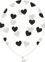 Ballonnen clear hartjes zwart 50 stuks