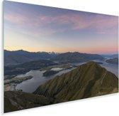 Lucht boven het Nationaal park Mount Aspiring in Nieuw-Zeeland Plexiglas 90x60 cm - Foto print op Glas (Plexiglas wanddecoratie)