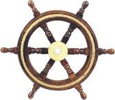 Stuurwiel Hout - Decoratief & Echt gebruik - Stuurwiel Boot - Met touwinleg - Diameter 30 cm