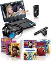 """Lenco DVP-910 - 9"""" Portable DVD-speler - Blauw/Zwart + 5-DVD Pack"""