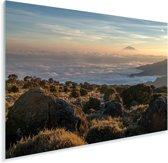 De Afrikaanse Kilimanjaro bij Tanzania Plexiglas 30x20 cm - klein - Foto print op Glas (Plexiglas wanddecoratie)