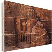 Oude tempel uit zandsteen gesneden Petra in Jordanië Vurenhout met planken 120x80 cm - Foto print op Hout (Wanddecoratie)