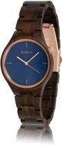 HOT&TOT Bixie - Houten horloge - Rosekleurige details - Bruin - Blauw - ø 40 mm