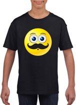 Smiley/ emoticon t-shirt snorzwart kinderen M (134-140)