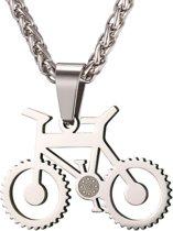 Heren ketting met hanger edelstaal Zilverkleurig Bicycle