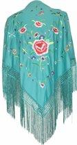 Spaanse manton/omslagdoek zeegroen diverse kleuren bloemen bij Flamenco jurk verkleedkleding