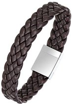 All Blacks 682127 bruin gevlochten leren armband 21 cm