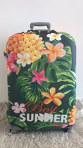 Koffer beschermhoes met ananas print/Hoes in de maat M/Suitcase cover/Kofferhoes/Cover/Luggage cover/Bagage hoes/Kofferhoes met print/Kofferbeschermer/Suitcase protector