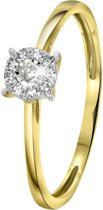 Lucardi Ringen  - 14 Karaat geelgouden ring met diamant 0,08ct