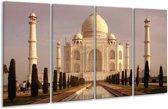Glasschilderij Taj Mahal | Wit, Zwart, Crème | 160x80cm 4Luik | Foto print op Glas |  F000970