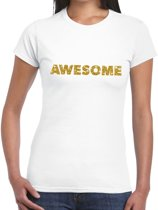 Awesome goud glitter tekst t-shirt wit voor dames M