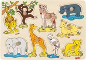 Goki 9-delige puzzel afrikaanse babydieren