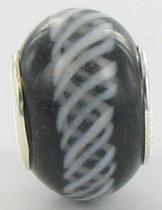 Quiges - Glazen Kraal Bedel - Zwart met Spiraal - zilverkleurig - GZ156
