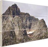 Bergtop Hout 60x40 cm - Foto print op Hout (Wanddecoratie)