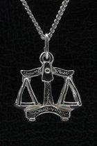 Zilveren Sterrenbeeld Weegschaal ketting hanger - groot