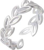 24/7 Jewelry Collection Blad Ring Verstelbaar - Verstelbare Ring - Zilverkleurig