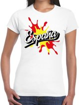 Espana/Spanje landen t-shirt spetter wit voor dames - supporter/landen kleding Spanje S