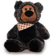 Pluche grijs/zwarte beer met sjaaltje 21 cm