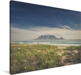 Mooie wolken boven de zee en de Tafelberg in Zuid-Afrika Canvas 180x120 cm - Foto print op Canvas schilderij (Wanddecoratie woonkamer / slaapkamer) XXL / Groot formaat!