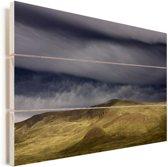 Stormachtig weer bij het nationale park Nahuel Huapi in Argentinie Vurenhout met planken 120x80 cm - Foto print op Hout (Wanddecoratie)