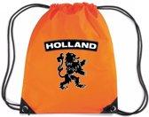 Oranje nylon rijgkoord rugzak/ sporttas Holland zwarte leeuw