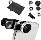 Clip Lens- 3-in-1 Fish Eye 180° Lens / Wide Lens / Macro Lens - Universeel Compact Zilver Universeel Tablet/Smartphone Zonder Hoesje