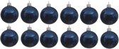 12x Donkerblauwe glazen kerstballen 10 cm - Glans/glanzende - Kerstboomversiering donkerblauw