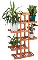 Plantenrek van hout - 5 etages - Plantentrap 5 planken - Bloemen rek - Kleur: HONINGBRUIN