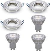 LED inbouwspot - GU10 dimbaar    Zilver (set van 3 stuks)