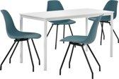 Eetkamerset Ede - tafel wit 140x60cm met 4 stoelen turquoise