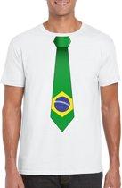 Wit t-shirt met Braziliaanse vlag stropdas heren - Brazilie supporter M