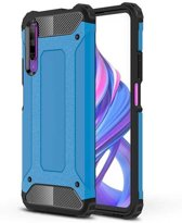 Teleplus Huawei P Smart Pro Case Dual Layer Tank Silicone Blue + Nano Screen Protector hoesje