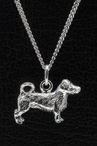 Zilveren Jack russell terrier ruwhaar met staart ketting hanger - groot