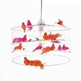 Hanglamp met vogeltjes-Oranje-Roze-Wit-Kinderkamer-Babykamer-Woonkamer-Hal-Kantoor-Ø30cm.