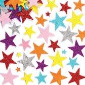 Foam stickers met glitter ster  (150 stuks per verpakking)