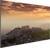 De Akropolis bij zonsondergang Aluminium 120x80 cm - Foto print op Aluminium (metaal wanddecoratie)