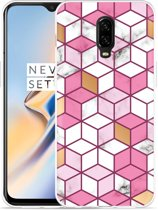 OnePlus 6T Hoesje Pink-gold-white Marble