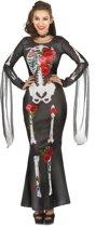 Dia de los Muertos skelet jurk met rozen voor vrouwen - Volwassenen kostuums