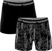 Muchachomalo heren boxershorts 2-pack Print / Zwart Antraciet - Script Maat: L