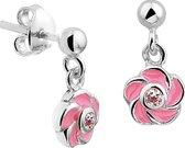 The Jewelry Collection Oorhangers Bloem Zirkonia - Zilver