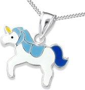 Princess Ketting Unicorn Blue - Meisjes - 925 Zilver - Epoxy - Eenhoorn - 19 x 14 mm - 38 cm
