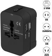 Universele Wereldstekker met 2 USB Poorten - Internationale Reisstekker voor 150+ landen - Engeland (UK) - Amerika (USA) - Australië - Azië - Zuid Amerika - Afrika - Reis Adapter - Wereld Stekker - Oplader – Zwart