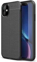 Hoesje voor Apple iPhone 11, gel case lederlook, zwart