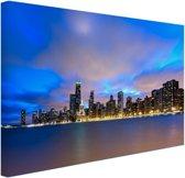 Wolken boven Chicago Canvas 80x60 cm - Foto print op Canvas schilderij (Wanddecoratie woonkamer / slaapkamer) / Steden Canvas Schilderijen