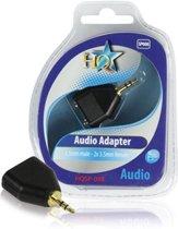 HQ 3.5mm M/F 3.5mm Stereo Plug 2x 3.5mm Stereo Vrouwplug Zwart kabeladapter/verloopstukje