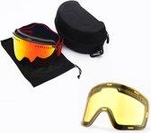 Skibril met magnetische lens spiegel Magic Red frame zwart Y type 2 Cat. 1 tot 4 - ☀/☁